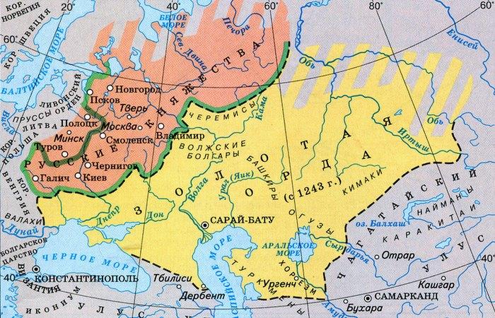 Золотая Орда и русские княжества на карте./ Фото: rivage.ru